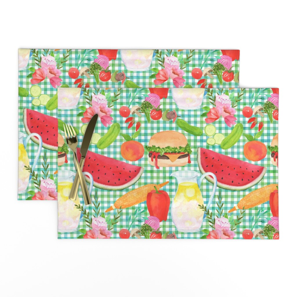 Lamona Cloth Placemats featuring Summertime Cookout BBQ! by vo_aka_virginiao