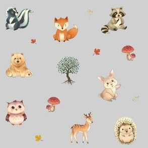 Woodland Critters on Grey
