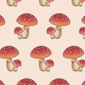Woodland Mushroom on Beige
