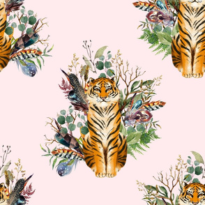 """18"""" Boho Tiger Florals - Blush"""
