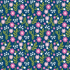 Hello Floral Purple and Navy