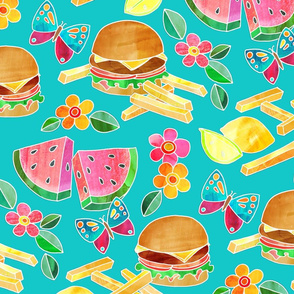 Cookout Collage with Burgers & Butterflies - large