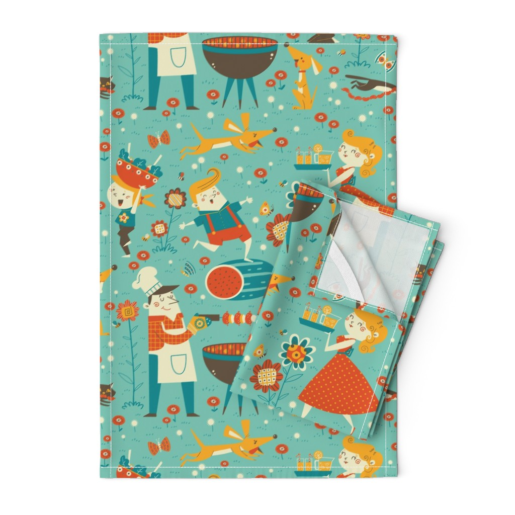 Orpington Tea Towels featuring vintage cookout by gnoppoletta