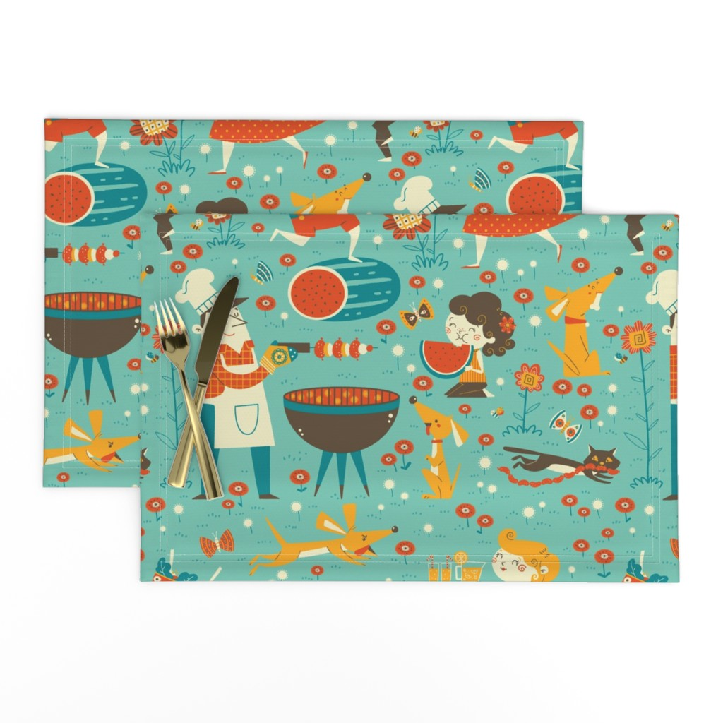 Lamona Cloth Placemats featuring vintage cookout by gnoppoletta