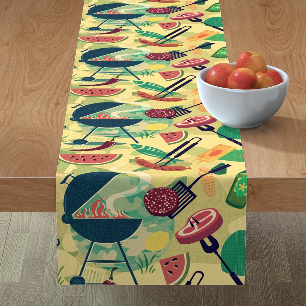 Minorca Table Runner featuring Summer BBQ by chicca_besso