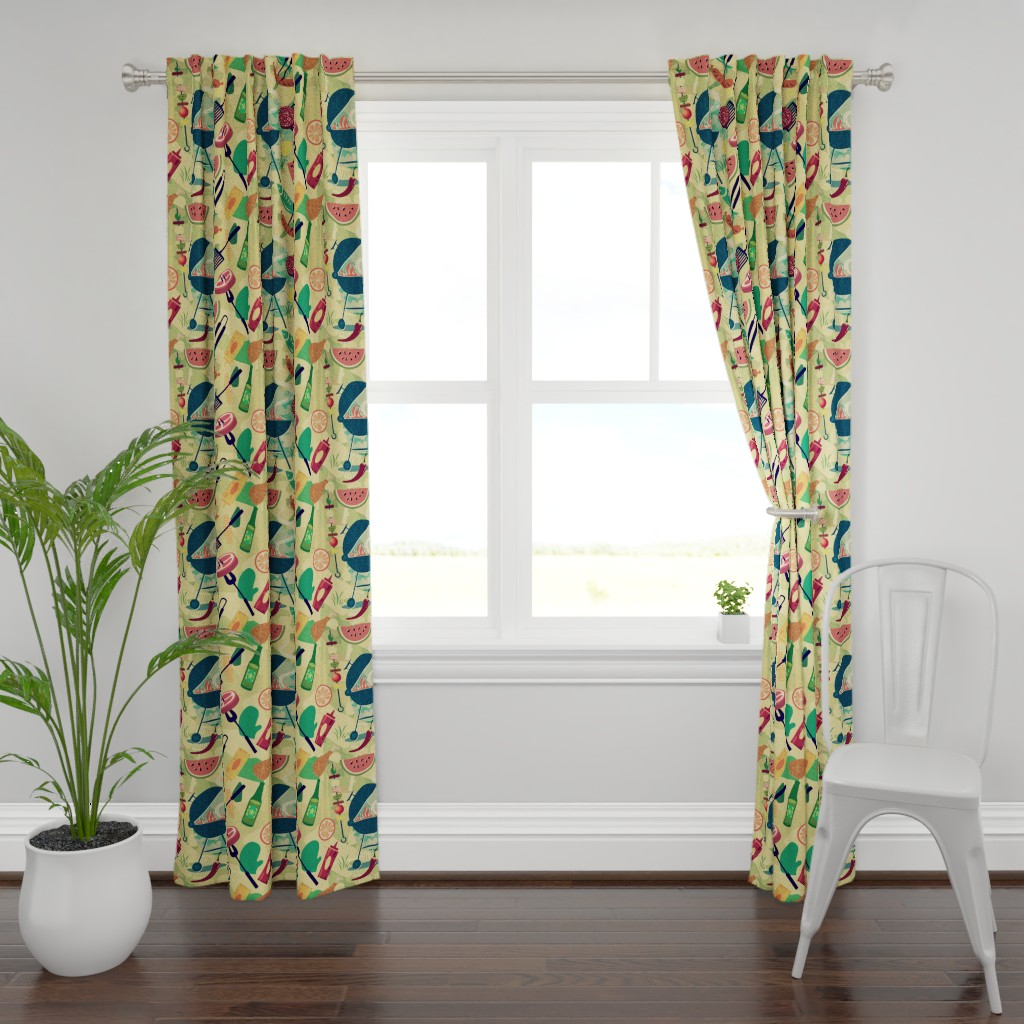 Plymouth Curtain Panel featuring Summer BBQ by chicca_besso