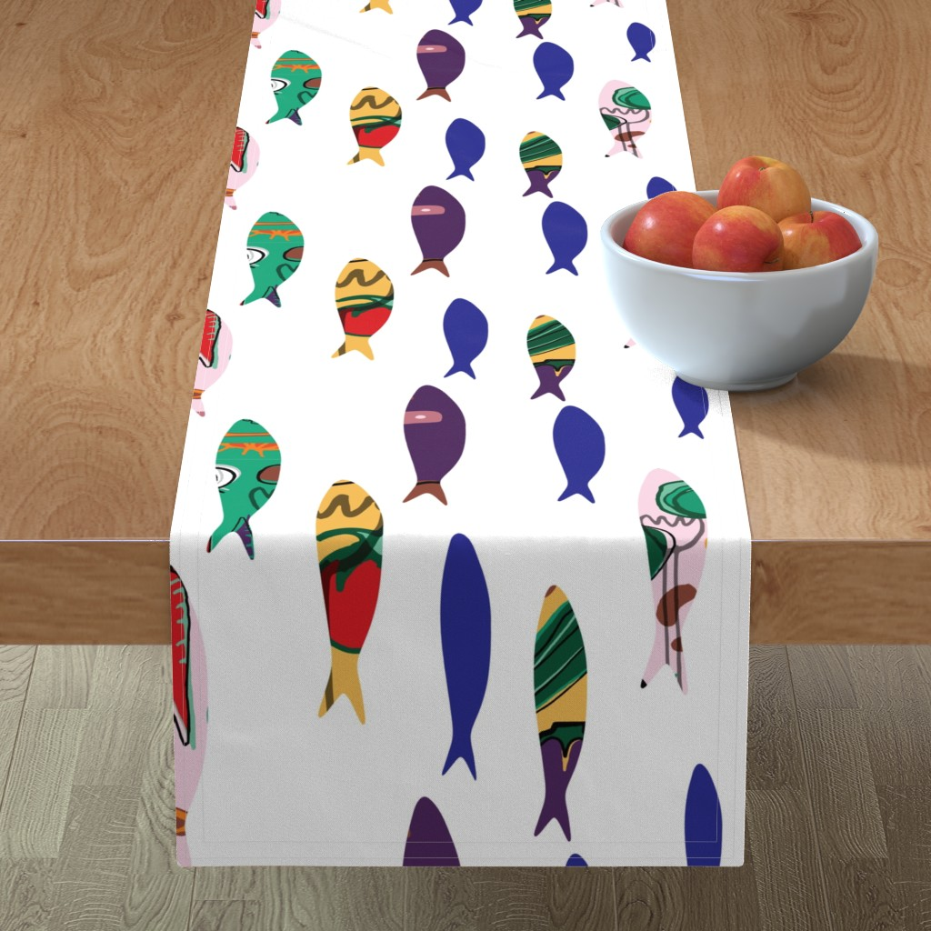 Minorca Table Runner featuring Summer cookout sardines by bruxamagica