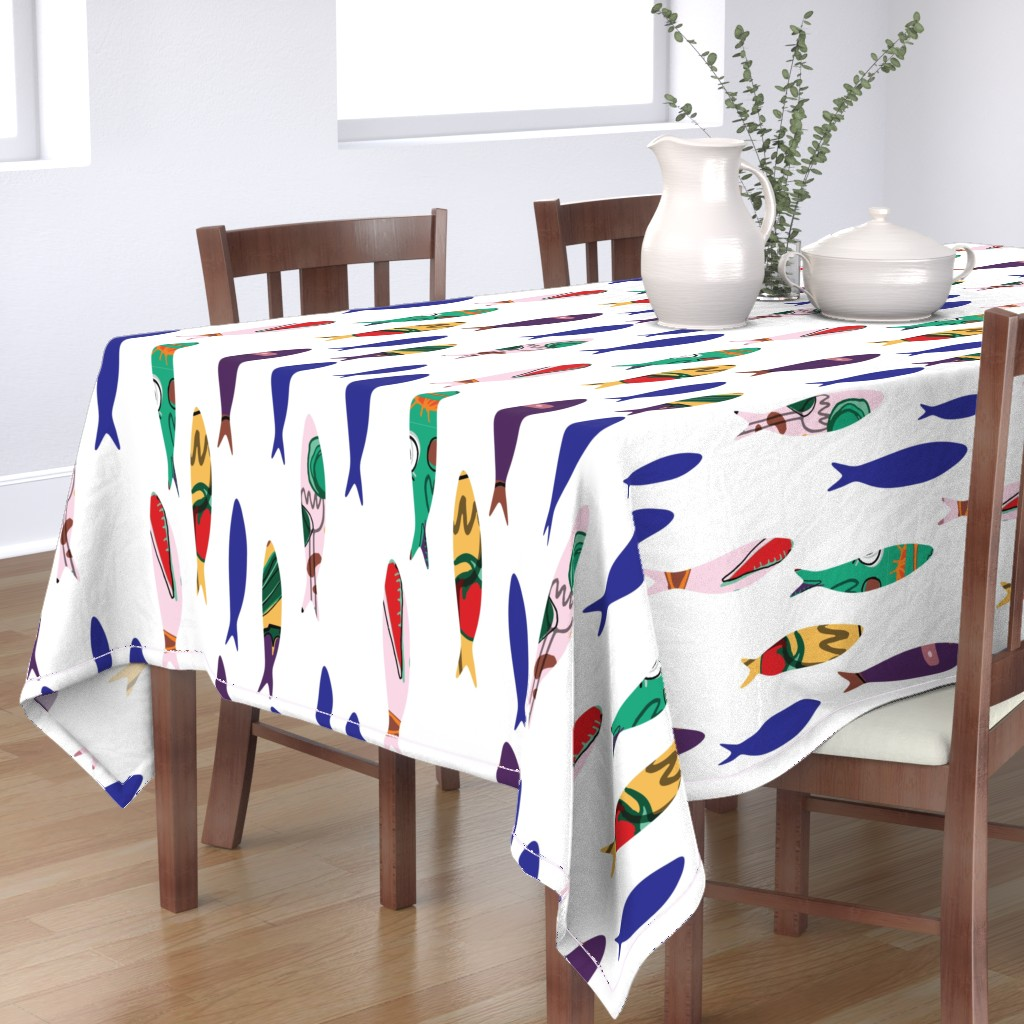 Bantam Rectangular Tablecloth featuring Summer cookout sardines by bruxamagica