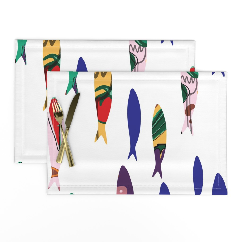 Lamona Cloth Placemats featuring Summer cookout sardines by bruxamagica