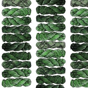 green yarn on white