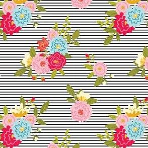 Floral Stripes - Black