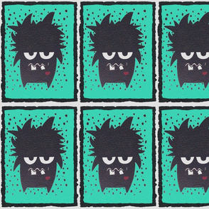 Cute monster teal fabric
