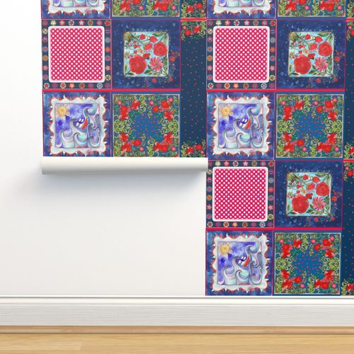 Coupon Foulards Bleu Rouge Spoonflower