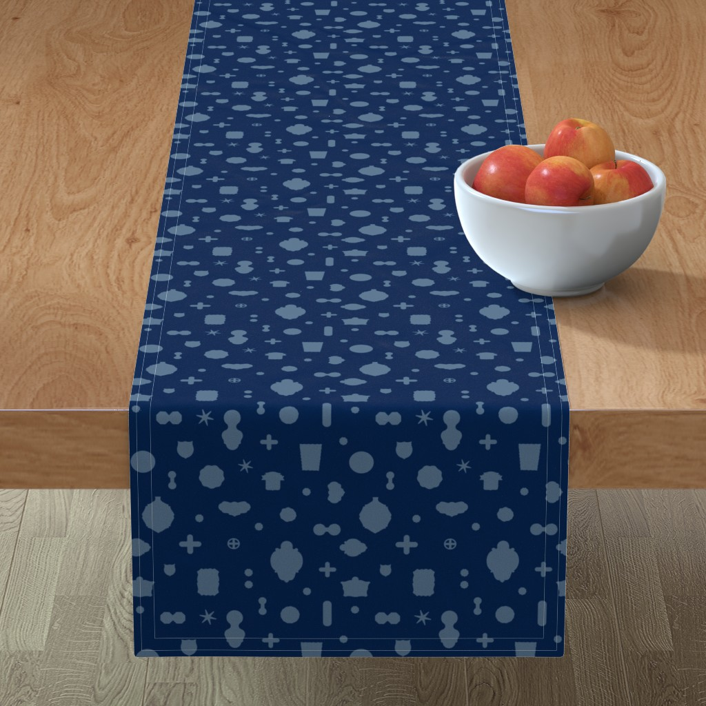 Minorca Table Runner featuring Tutto pop - blue/blue by cinneworthington