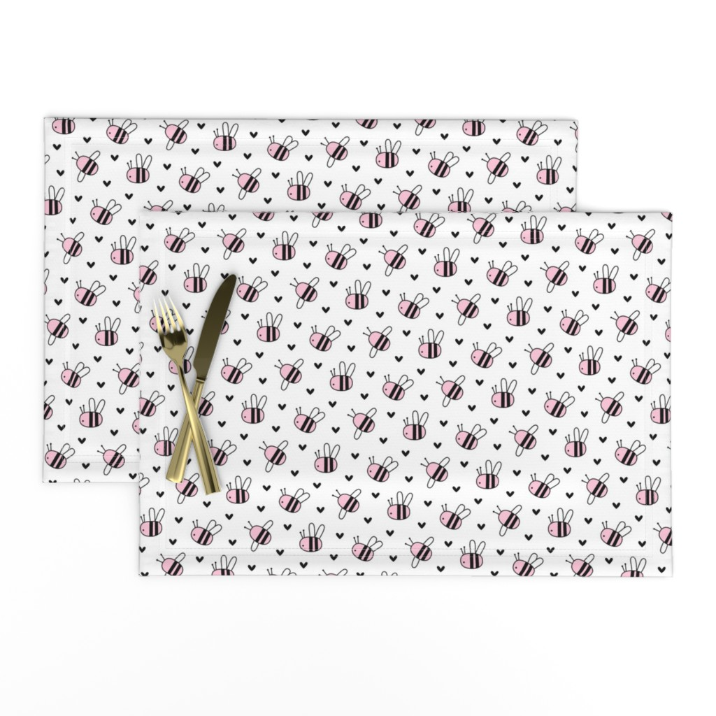 Lamona Cloth Placemats featuring bumblebees pink on white by misstiina