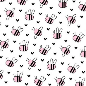 bumblebees pink on white