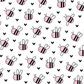 bumblebees pink on white