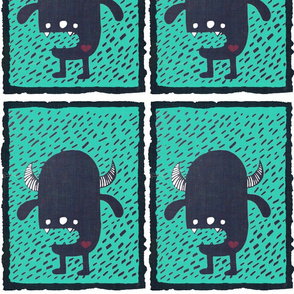Monster teal fabric