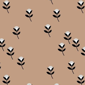 Sweet cotton flowers botanical floral spring summer print spring soft beige