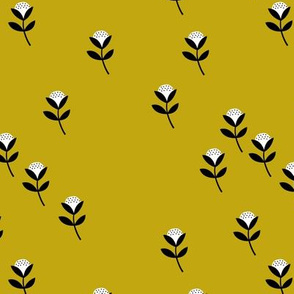 Sweet cotton flowers botanical floral spring summer print spring mustard yellow