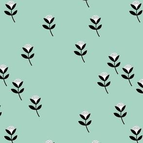 Sweet cotton flowers botanical floral spring summer print spring soft mint