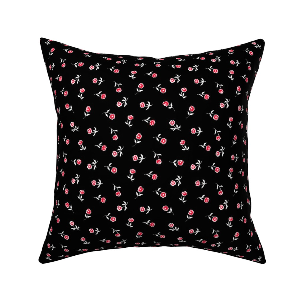 Catalan Throw Pillow featuring Small red flowers by susanna_nousiainen