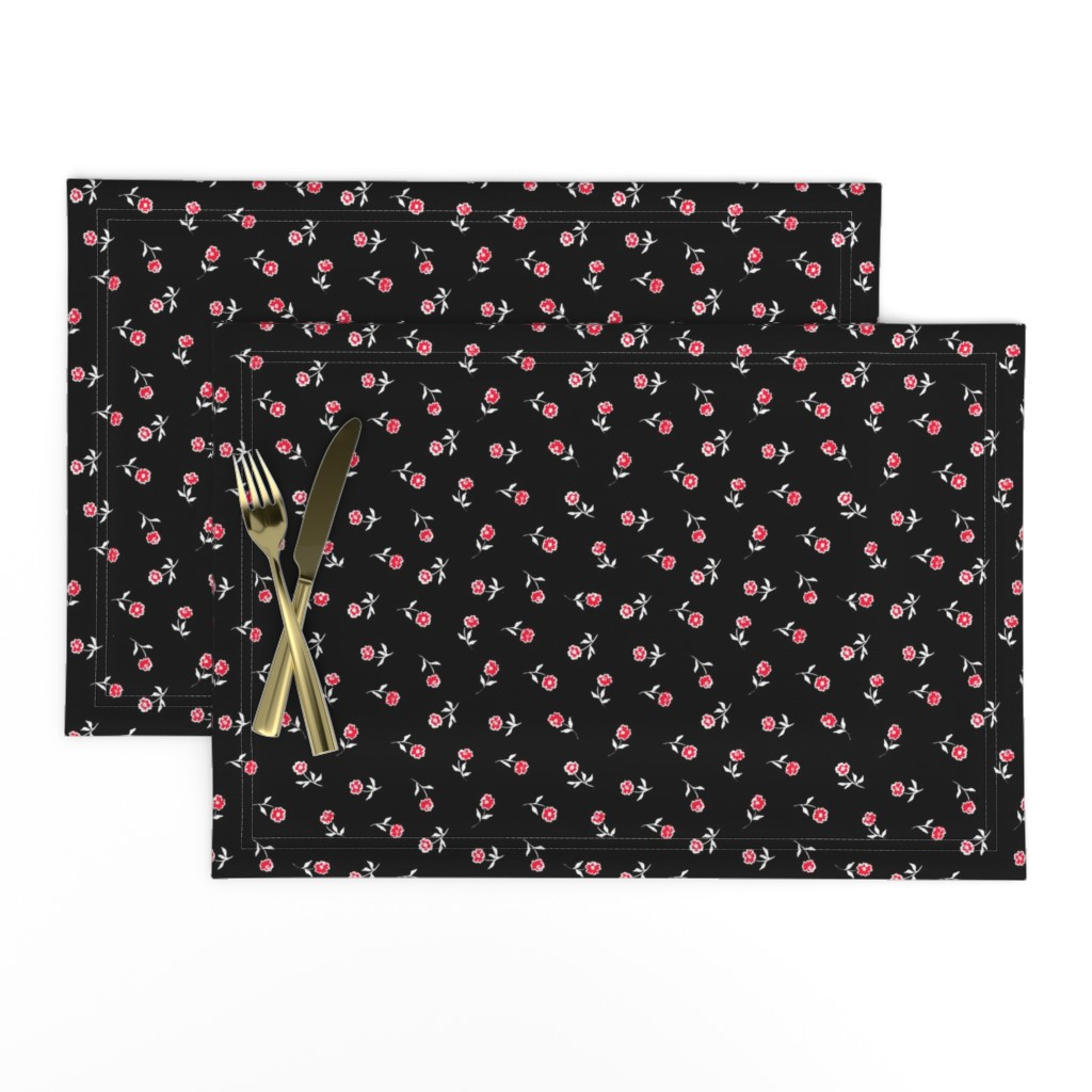 Lamona Cloth Placemats featuring Small red flowers by susanna_nousiainen