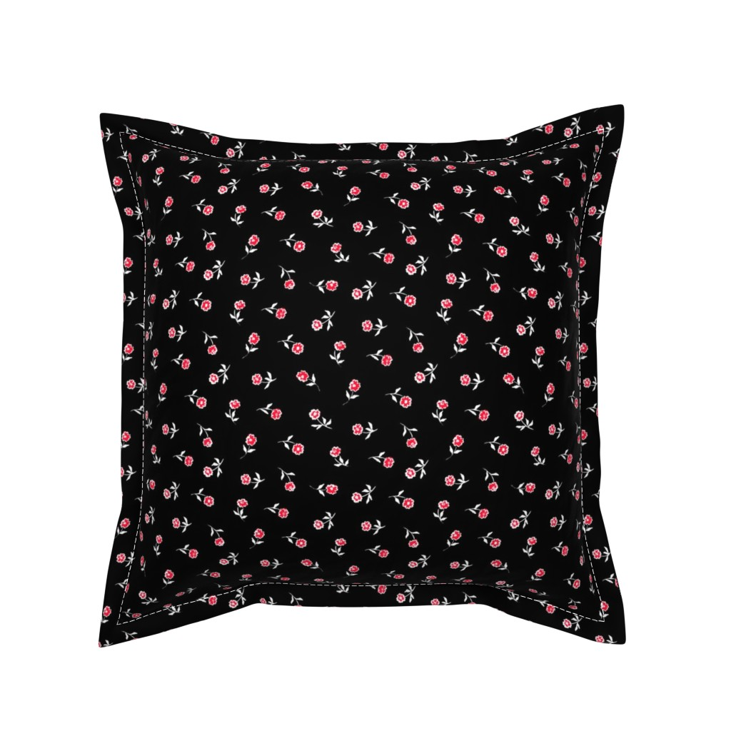 Serama Throw Pillow featuring Small red flowers by susanna_nousiainen