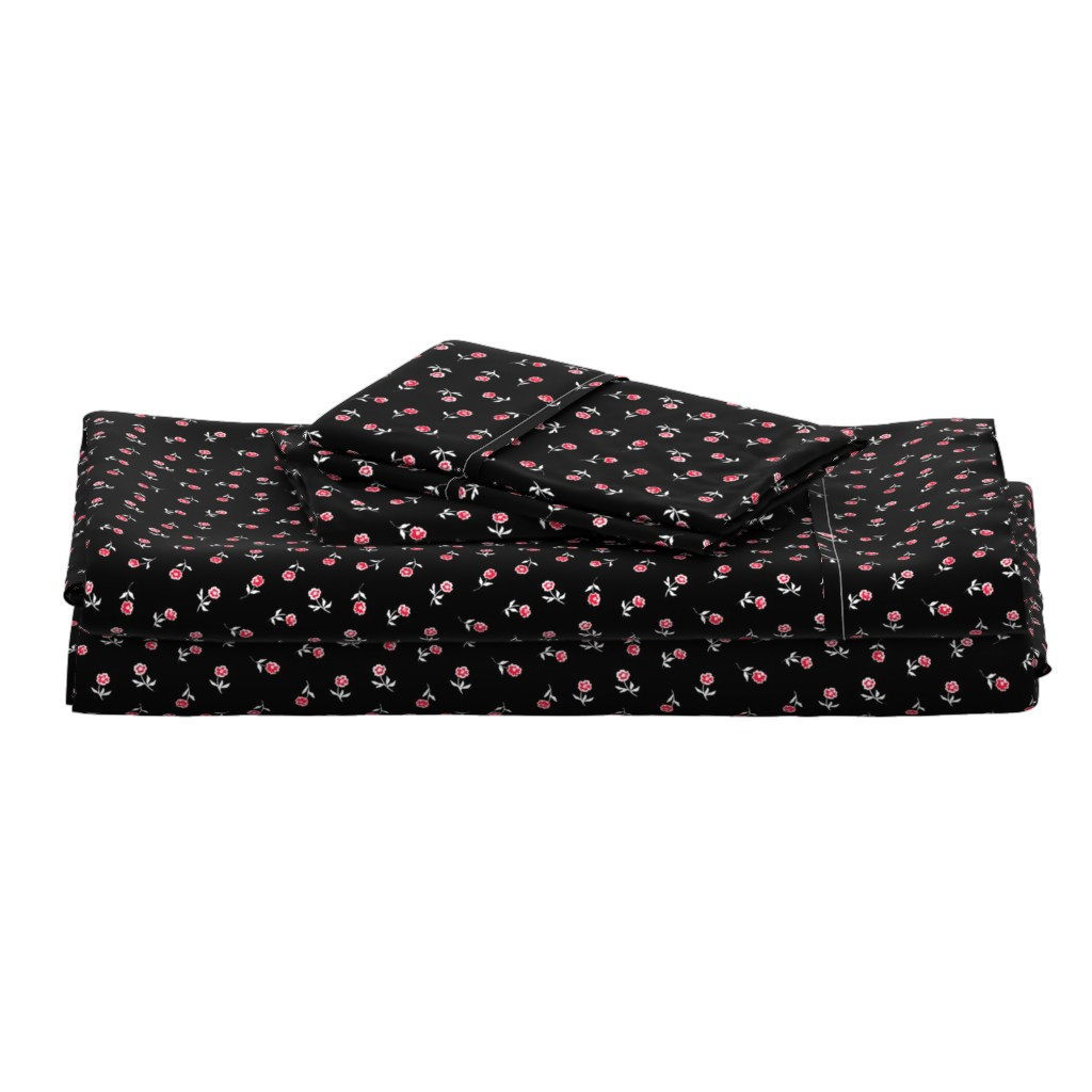 Langshan Full Bed Set featuring Small red flowers by susanna_nousiainen