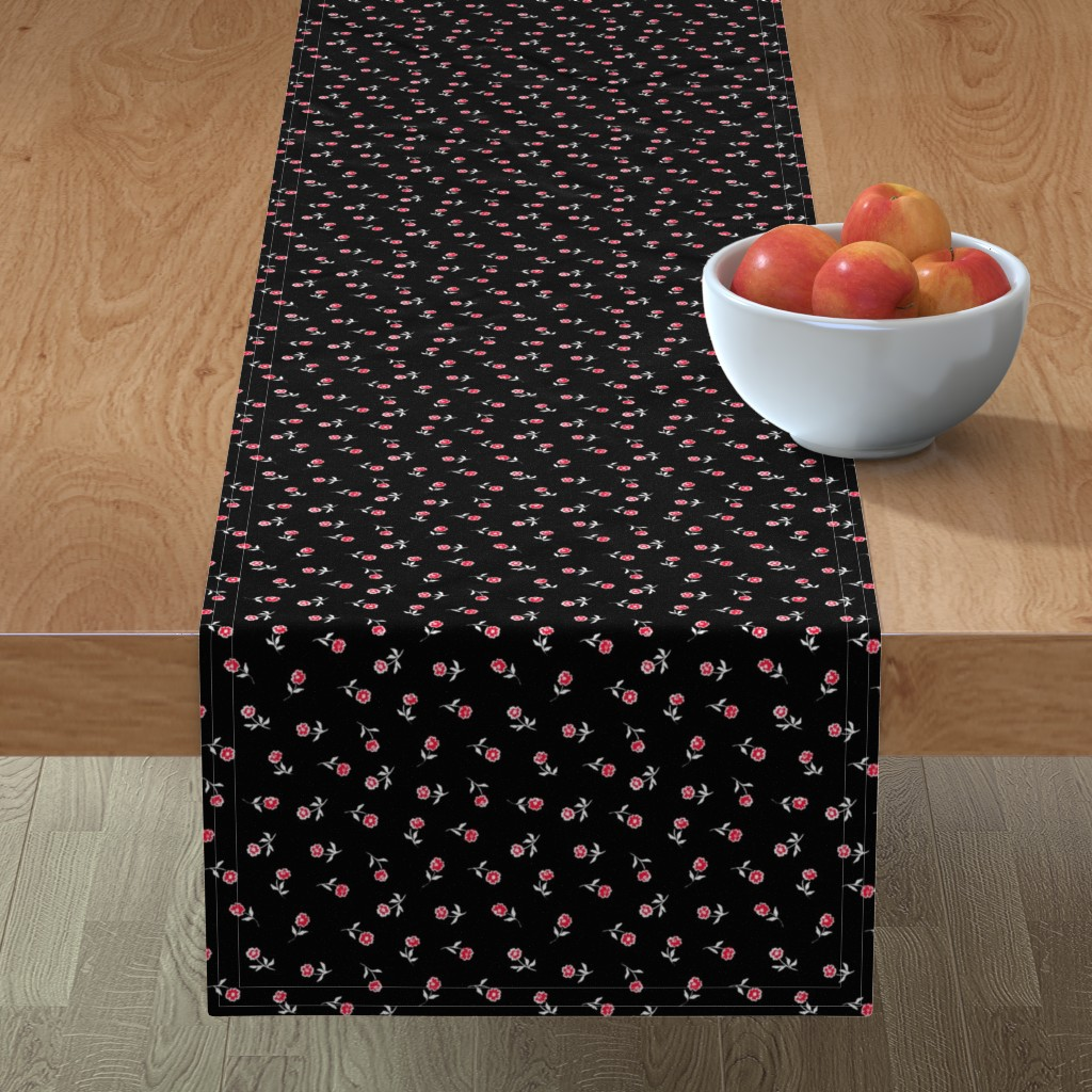 Minorca Table Runner featuring Small red flowers by susanna_nousiainen