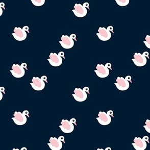 Sweet little swan spring theme cute kids animals in navy and pink