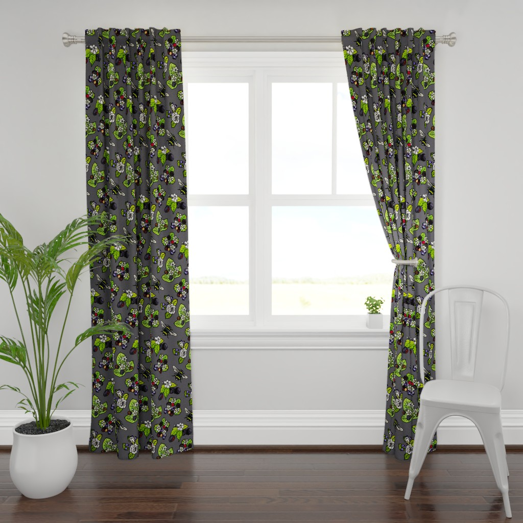 Plymouth Curtain Panel featuring English Garden - Smoky by dixiemoon