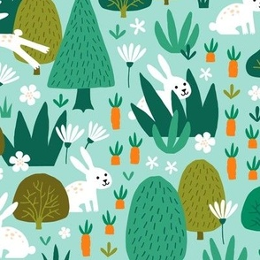 Hare and Rabbit in summer forest light