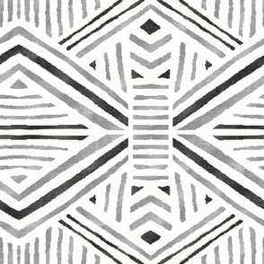 Tribal Geometric Black Silver