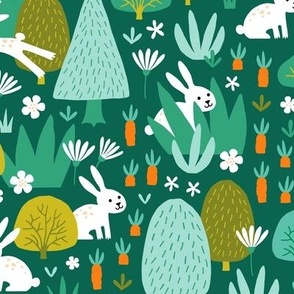 Hare and Rabbit in summer forest dark