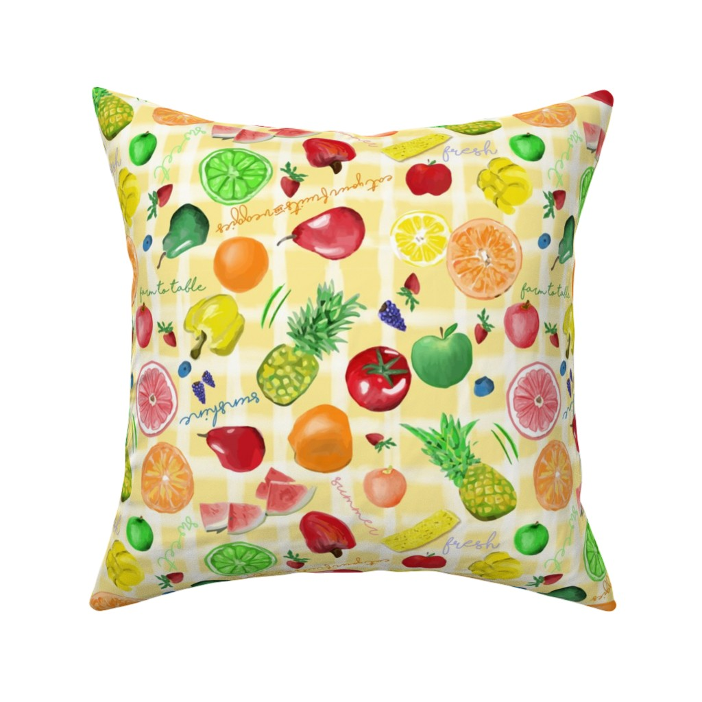 Catalan Throw Pillow featuring Eat your fruits and veggies by stasiajahadi