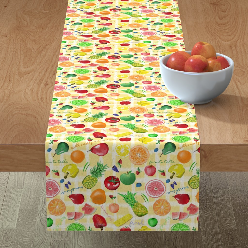 Minorca Table Runner featuring Eat your fruits and veggies by stasiajahadi