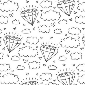 daydreamer black and white diamond clouds