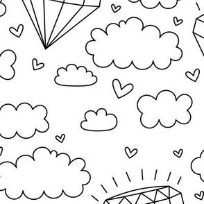 daydreamer black and white diamond clouds LG