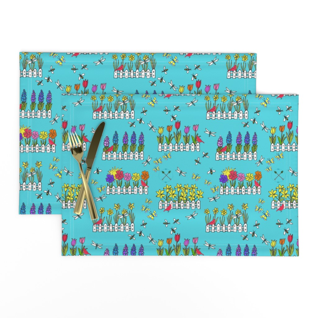 Lamona Cloth Placemats featuring Spring Flower Gardening by lisakling