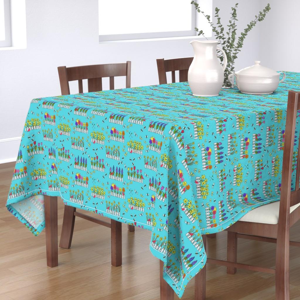 Bantam Rectangular Tablecloth featuring Spring Flower Gardening by lisakling