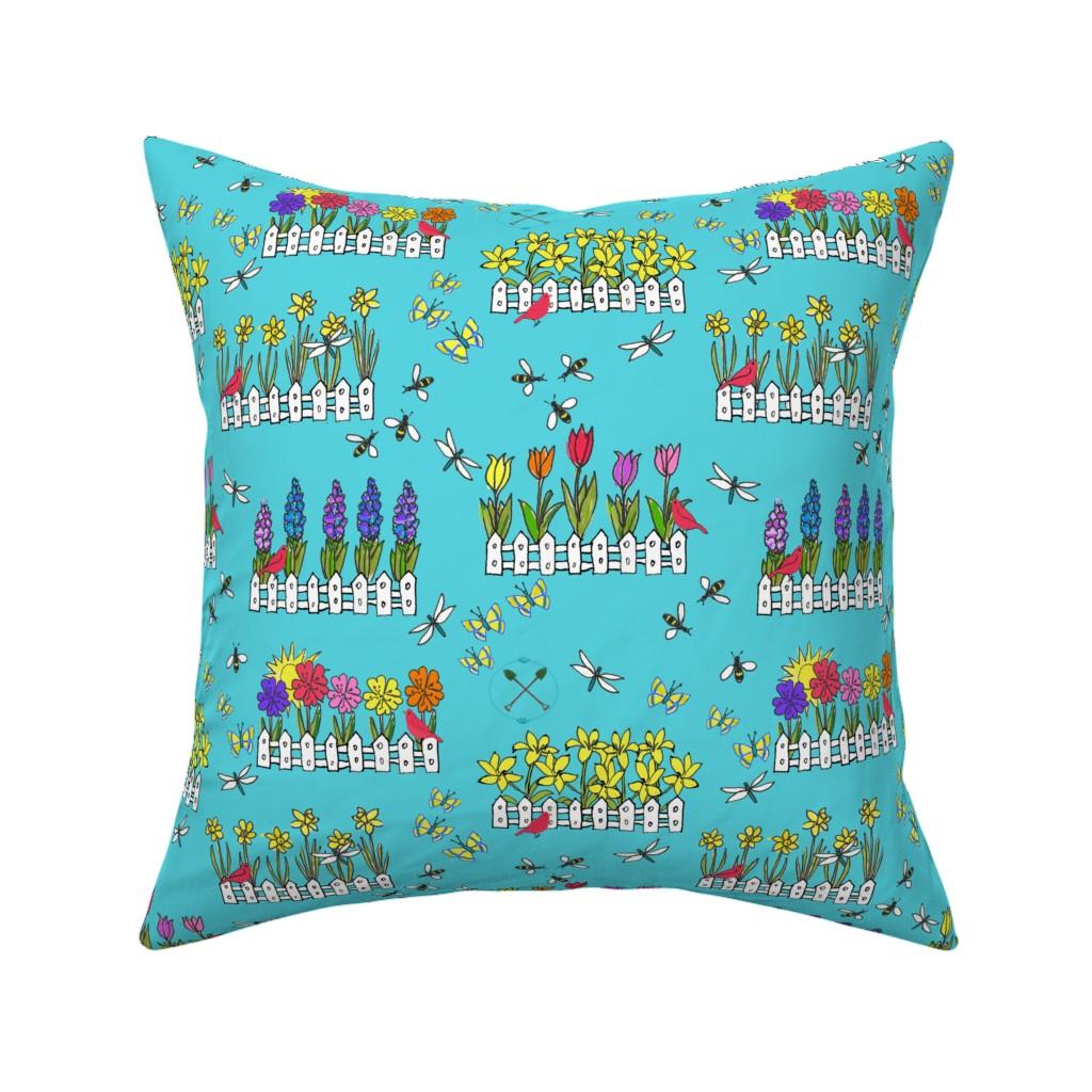 Catalan Throw Pillow featuring Spring Flower Gardening by lisakling