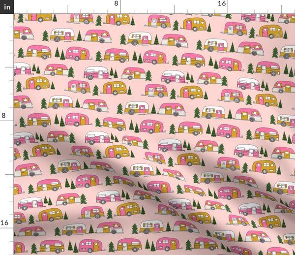 Fabric by the Yard vintage camper // pink vintage retro camper van cute  retro design camping camper van retro camper