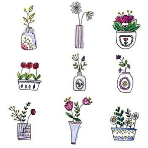 Watercolour flower pots