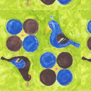 birds and balls - green, blue, and brown