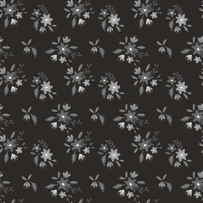 Black and Gray Petite Floral