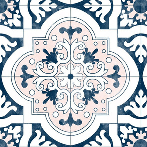 17.25 inch Navy and Pink Spanish Tiles