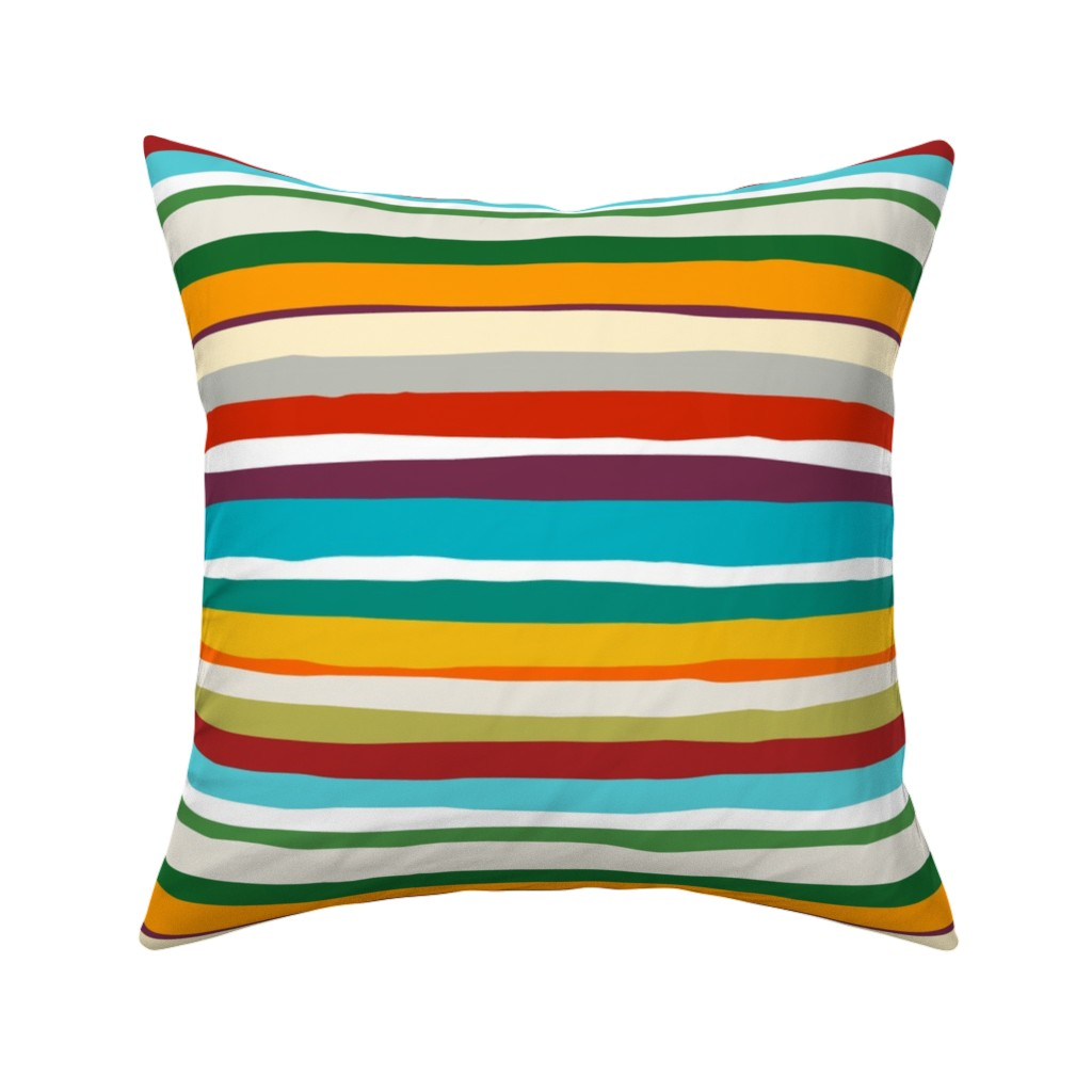 Catalan Throw Pillow featuring Hazy Summer Days Horizontal Stripe 12x12 horizontal by stitchyrichie