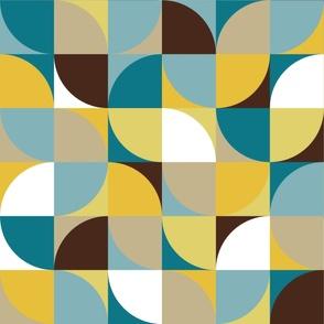 retro mod squares white mustard blue brown