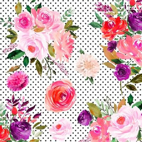 """Bright Floral Bouquets on Black Dots 12"""""""